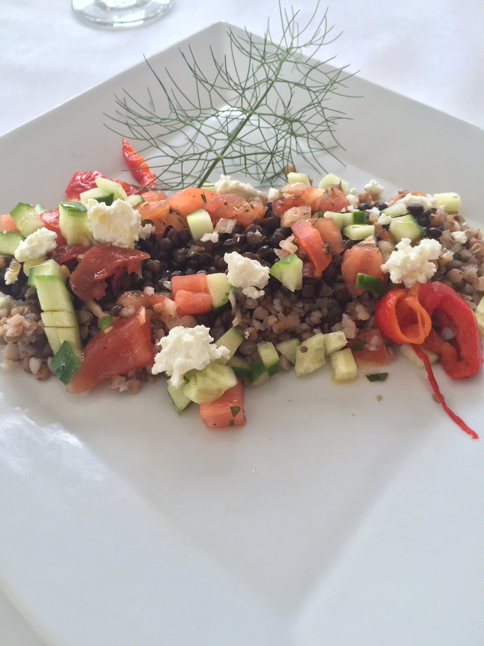 Black Lentils and Buckwheat with Greek Salad